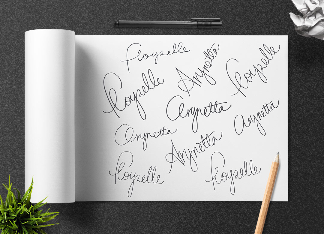 Custom typography Arynetta Floyzelle